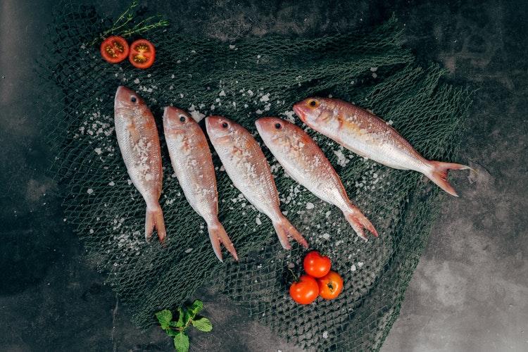 塩のかかった5匹の魚